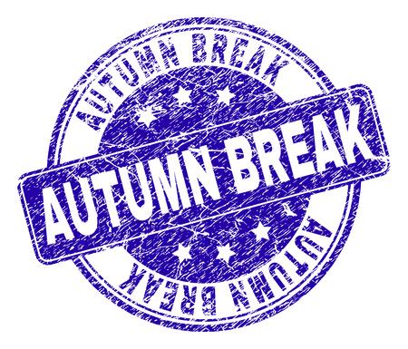 Marca de agua de sello de sello de vacaciones de otoño con textura grunge. Diseñado con rectángulo redondeado y círculos. Marca de agua de goma de vector azul del título de las vacaciones de otoño con textura grunge. Ilustración de vector