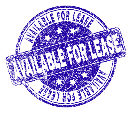 AVAILABLE FOR LEASE stamp seal watermark with distress style. Designed with rounded rectangle and circles. Blue vector rubber print of AVAILABLE FOR LEASE tag with dirty style.