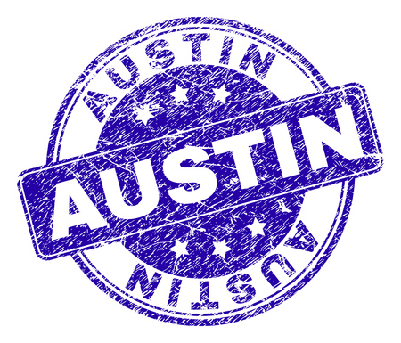 AUSTIN stamp seal watermark with grunge texture. Designed with rounded rectangle and circles. Blue vector rubber watermark of AUSTIN title with grunge texture. Vector Illustration