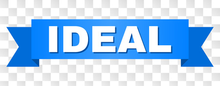 IDEAL text on a ribbon. Designed with white title and blue tape. Vector banner with IDEAL tag on a transparent background.