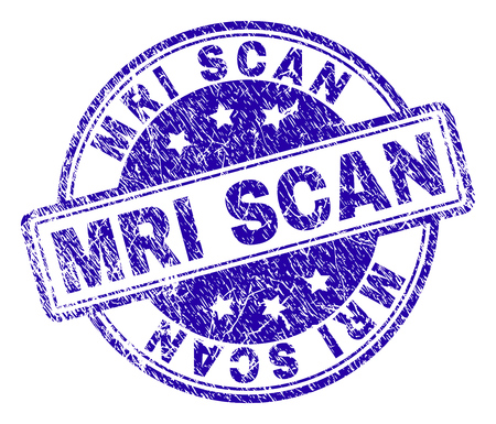 MRI SCAN stamp seal watermark with grunge texture. Designed with rounded rectangles and circles. Blue vector rubber print of MRI SCAN label with corroded texture.