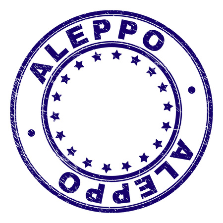 ALEPPO stamp seal imprint with grunge style. Designed with circles and stars. Blue vector rubber print of ALEPPO caption with grunge texture.
