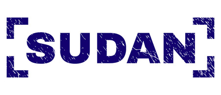 SUDAN text seal print with grunge texture. Text label is placed between corners. Blue vector rubber print of SUDAN with retro texture.