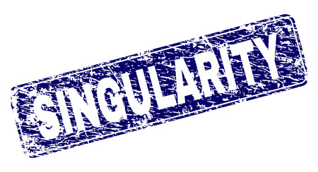 SINGULARITY stamp seal print with distress texture. Seal shape is a rounded rectangle with frame. Blue vector rubber print of SINGULARITY caption with unclean texture. Illustration