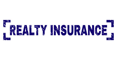 REALTY INSURANCE text seal print with distress effect. Text caption is placed between corners. Blue vector rubber print of REALTY INSURANCE with dirty texture.