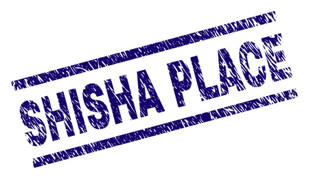 SHISHA PLACE seal watermark with grunge style. Blue vector rubber print of SHISHA PLACE caption with grunge texture. Text caption is placed between parallel lines. Banque d'images - 125686598