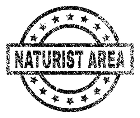 NATURIST AREA stamp seal watermark with distress style. Designed with rectangle, circles and stars. Black vector rubber print of NATURIST AREA tag with retro texture.
