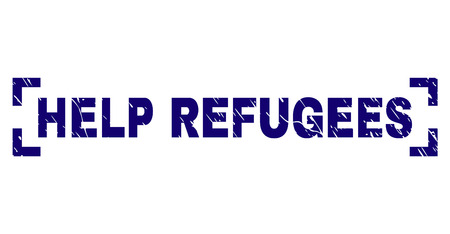 HELP REFUGEES label seal print with grunge texture. Text label is placed between corners. Blue vector rubber print of HELP REFUGEES with grunge texture. 矢量图像