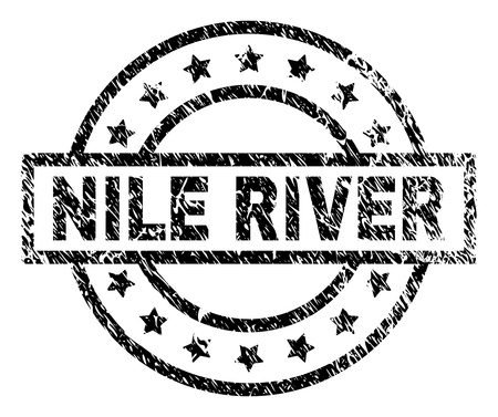 NILE RIVER stamp seal watermark with distress style. Designed with rectangle, circles and stars. Black vector rubber print of NILE RIVER caption with unclean texture.