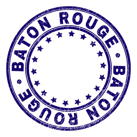 BATON ROUGE stamp seal imprint with grunge texture. Designed with round shapes and stars. Blue vector rubber print of BATON ROUGE text with corroded texture.