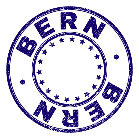 BERN stamp seal watermark with grunge effect. Designed with circles and stars. Blue vector rubber print of BERN label with grunge texture.
