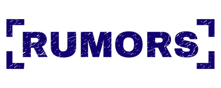 RUMORS text seal imprint with corroded texture. Text tag is placed between corners. Blue vector rubber print of RUMORS with unclean texture. Illustration