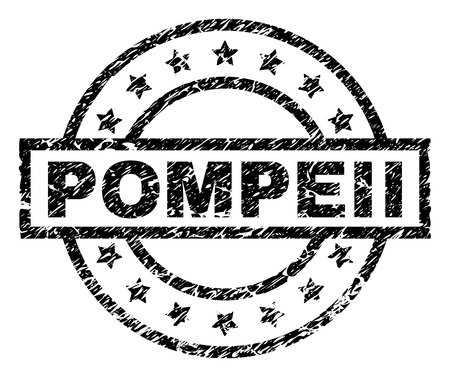POMPEII stamp seal watermark with distress style. Designed with rectangle, circles and stars. Black vector rubber print of POMPEII caption with dirty texture.