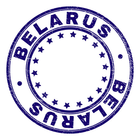 BELARUS stamp seal imprint with distress texture. Designed with circles and stars. Blue vector rubber print of BELARUS text with dust texture.  イラスト・ベクター素材
