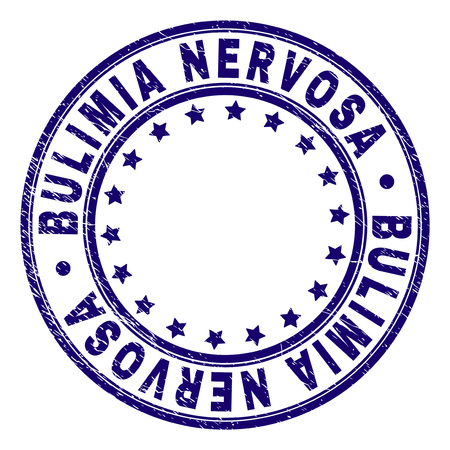 BULIMIA NERVOSA stamp seal imprint with grunge texture. Designed with round shapes and stars. Blue vector rubber print of BULIMIA NERVOSA caption with corroded texture.