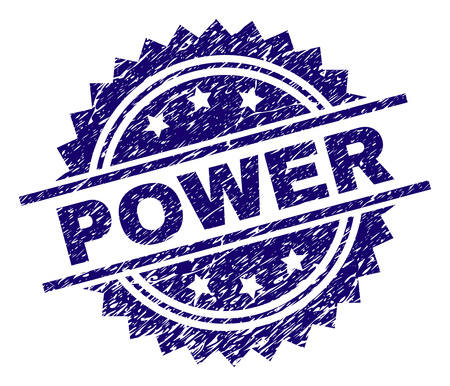 POWER stamp seal watermark with distress style. Blue vector rubber print of POWER title with grunge texture.