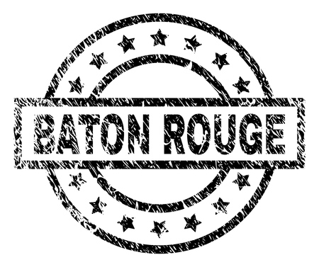 BATON ROUGE stamp seal watermark with distress style. Designed with rectangle, circles and stars. Black vector rubber print of BATON ROUGE text with dust texture.