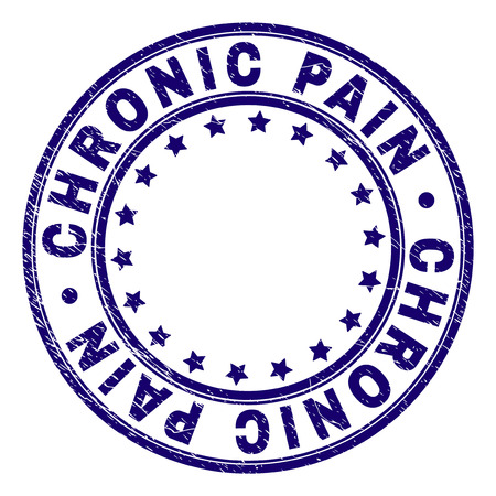 CHRONIC PAIN stamp seal watermark with grunge effect. Designed with round shapes and stars. Blue vector rubber print of CHRONIC PAIN tag with grunge texture.