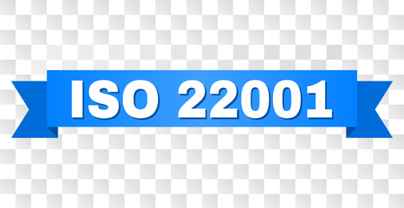 ISO 22001 text on a ribbon. Designed with white caption and blue tape. Vector banner with ISO 22001 tag on a transparent background. Illustration