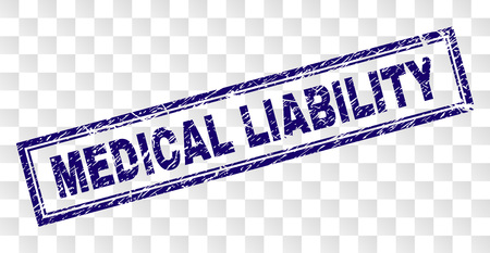 MEDICAL LIABILITY stamp seal print with rubber print style and double framed rectangle shape. Stamp is placed on a transparent background.