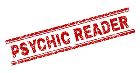 PSYCHIC READER seal imprint with corroded texture. Red vector rubber print of PSYCHIC READER text with dirty texture. Text label is placed between double parallel lines.