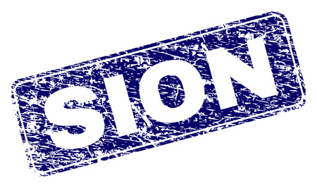SION stamp seal print with distress style. Seal shape is a rounded rectangle with frame. Blue vector rubber print of SION label with unclean style.