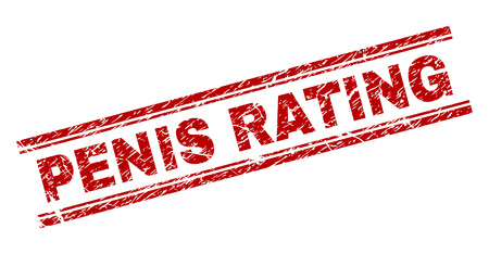 PENIS RATING seal imprint with corroded effect. Red vector rubber print of PENIS RATING title with corroded texture. Text title is placed between double parallel lines.