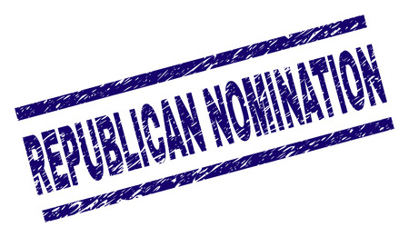 REPUBLICAN NOMINATION seal print with distress style. Blue vector rubber print of REPUBLICAN NOMINATION text with unclean texture. Text tag is placed between parallel lines.