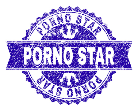 PORNO STAR rosette seal watermark with grunge style. Designed with round rosette, ribbon and small crowns. Blue vector rubber watermark of PORNO STAR title with grunge style.