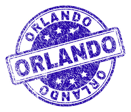 ORLANDO stamp seal imprint with grunge texture. Designed with rounded rectangles and circles. Blue vector rubber print of ORLANDO title with grunge texture.