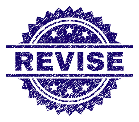 REVISE stamp seal watermark with distress style. Blue vector rubber print of REVISE label with dust texture.