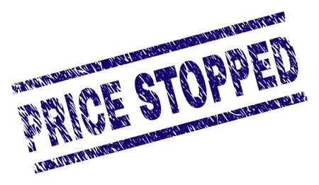 PRICE STOPPED estampado de sello con estilo rayado. Impresión de goma de vector azul del texto PRECIO DETENIDO con textura de polvo. La etiqueta de texto se coloca entre líneas paralelas.