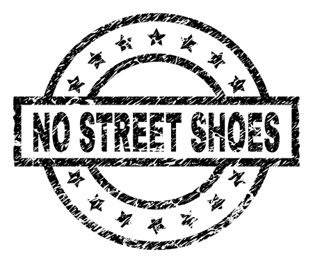 NO STREET SHOES stamp seal watermark with distress style. Designed with rectangle, circles and stars. Black vector rubber print of NO STREET SHOES title with unclean texture.
