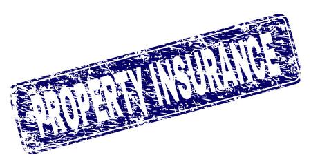 Impresión de sello de sello de seguro de propiedad con estilo grunge. La forma del sello es un rectángulo redondeado con marco. Impresión de goma de vector azul del título de SEGURO DE PROPIEDAD con estilo grunge.