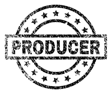PRODUCER stamp seal watermark with distress style. Designed with rectangle, circles and stars. Black vector rubber print of PRODUCER label with corroded texture.