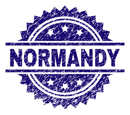NORMANDY stamp seal watermark with distress style. Blue vector rubber print of NORMANDY label with grunge texture. Vettoriali