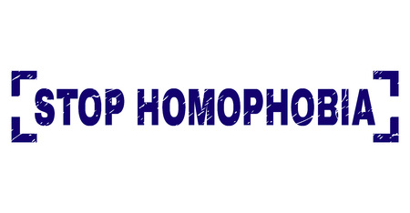 STOP HOMOPHOBIA text seal print with corroded texture. Text caption is placed inside corners. Blue vector rubber print of STOP HOMOPHOBIA with dust texture.