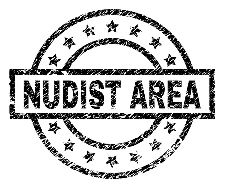 NUDIST AREA stamp seal watermark with distress style. Designed with rectangle, circles and stars. Black vector rubber print of NUDIST AREA title with grunge texture.
