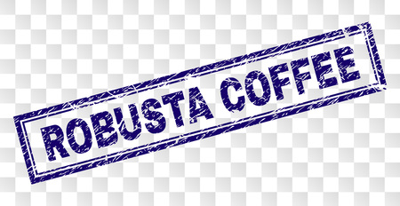 ROBUSTA COFFEE stamp seal watermark with rubber print style and double framed rectangle shape. Stamp is placed on a transparent background. Illustration
