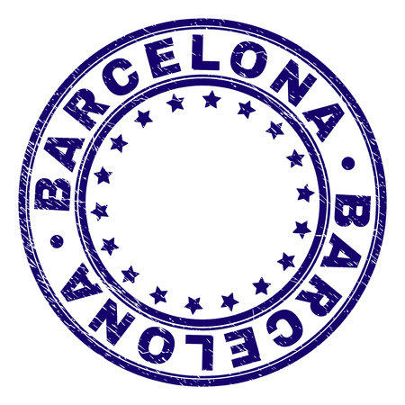BARCELONA stamp seal imprint with grunge texture. Designed with round shapes and stars. Blue vector rubber print of BARCELONA title with unclean texture. Illusztráció