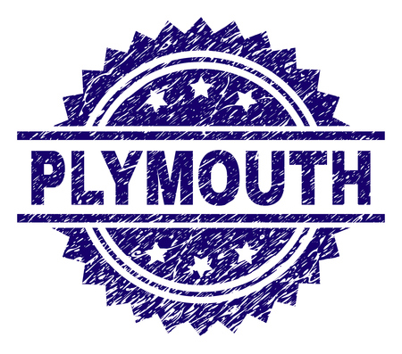 PLYMOUTH stamp seal watermark with distress style. Blue vector rubber print of PLYMOUTH tag with unclean texture.