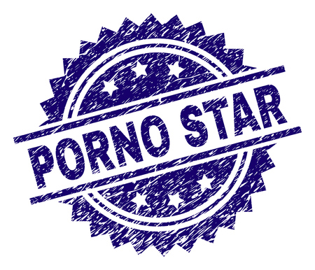 PORNO STAR stamp seal watermark with distress style. Blue vector rubber print of PORNO STAR caption with scratched texture.