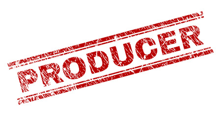 PRODUCER seal print with distress texture. Red vector rubber print of PRODUCER label with dust texture. Text tag is placed between double parallel lines. Illustration