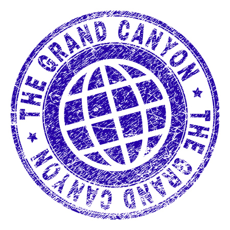 THE GRAND CANYON stamp print with distress texture. Blue vector rubber seal print of THE GRAND CANYON text with unclean texture. Seal has words placed by circle and planet symbol.