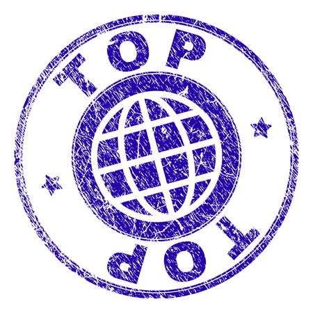 TOP stamp print with grunge texture. Blue vector rubber seal print of TOP label with retro texture. Seal has words placed by circle and globe symbol. Ilustrace