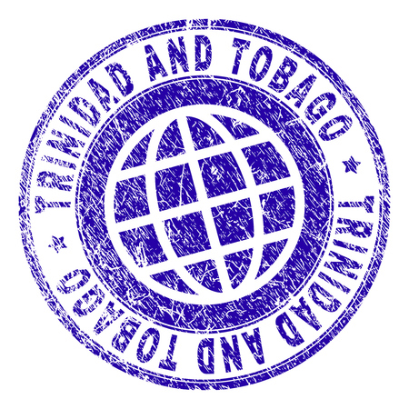 TRINIDAD AND TOBAGO stamp imprint with grunge effect. Blue vector rubber seal imprint of TRINIDAD AND TOBAGO label with grunge texture. Seal has words placed by circle and planet symbol. Illustration