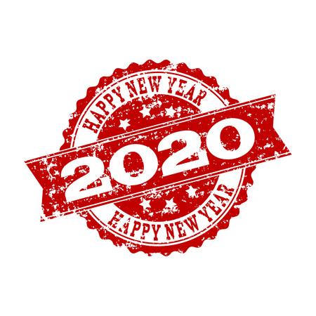 Grunge rotes Stempelsiegel Frohes neues Jahr 2020. Vektor HAPPY NEW YEAR 2020 Gummiwasserzeichen mit Grunge-Stil. Isoliertes rot gefärbtes Wasserzeichen auf weißem Hintergrund. Vektorgrafik
