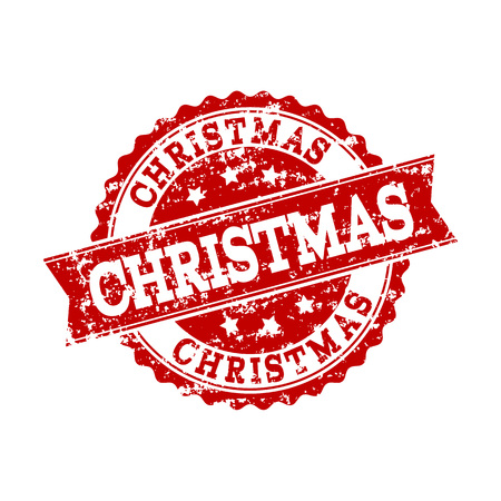 Grunge red CHRISTMAS stamp seal. Vector CHRISTMAS rubber seal with grunge texture. Isolated red colored watermark on a white background.