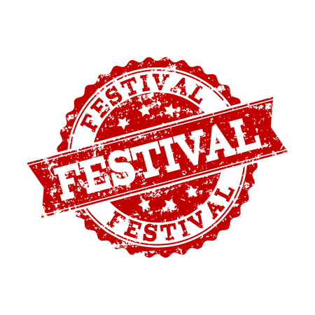Grunge red FESTIVAL stamp seal. Vector FESTIVAL rubber watermark with grunge effect. Isolated red colored watermark on a white background.