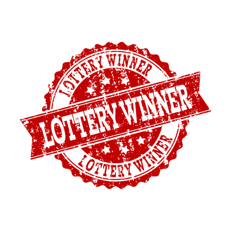 Grunge red LOTTERY WINNER stamp seal. Vector LOTTERY WINNER rubber watermark with grunge style. Isolated red colored watermark on a white background.
